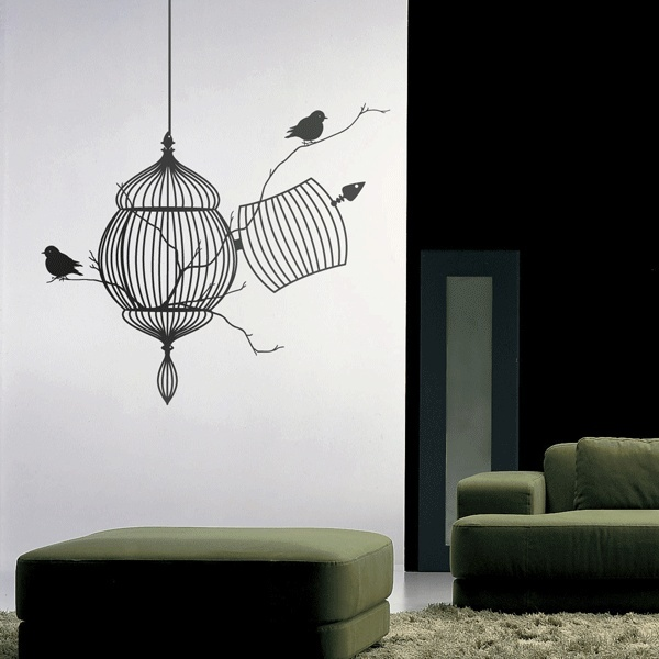 Bird Cage Modern Design Wall Decals